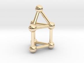 0739 J07 Elongated Triangular Pyramid (a=1cm) #3 in 14k Gold Plated Brass