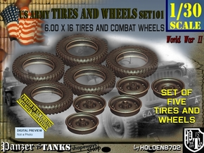 1/30 600x16 Tires+Wheels Set101 in Smooth Fine Detail Plastic