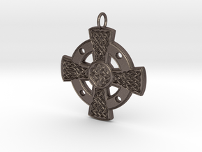 Celtic Cross No.3 - steel or bronze in Polished Bronzed-Silver Steel