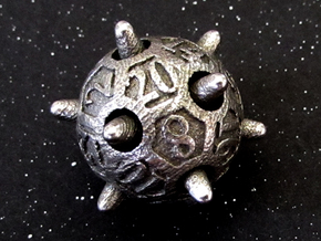 Sputnik d20 in Polished Bronzed Silver Steel