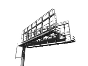 HO Scale Monopole Double-Sided 'V' Billboard in Frosted Ultra Detail