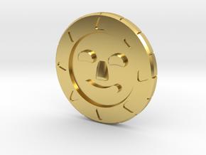 Golden Sun Coin in Polished Brass
