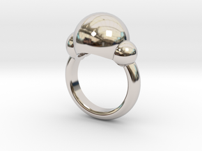 Bubbles Ring US Size 5 ¾ UK Size L in Rhodium Plated Brass