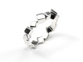Ring Mary Double Prisms  in Polished Silver: 6.5 / 52.75