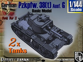 1-144 2x Basic PzKpfw 38t Ausf G in White Natural Versatile Plastic