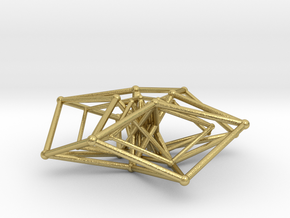Double Hypercube pendant 30mm in Natural Brass