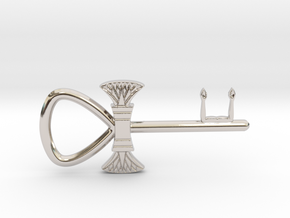 "3"" Ankh 'kA' key votive (lotus version) in Rhodium Plated Brass"