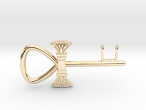 "3"" Ankh 'kA' key votive (lotus version) in 14k Gold Plated Brass"