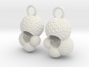 Globigerina Earrings in White Natural Versatile Plastic