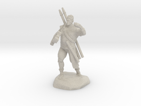 Half-orc pirate with Hammer and Net in Natural Sandstone
