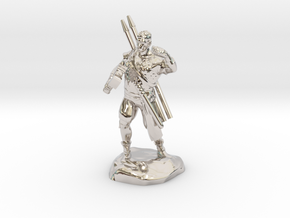 Half-orc pirate with Hammer and Net in Rhodium Plated Brass