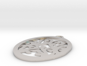 Olwen pendant in Rhodium Plated Brass: Small