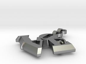 Love sculpture key fob in Natural Silver (Interlocking Parts)