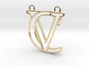 Initials C&V monogram in 14k Gold Plated Brass