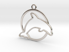 Dolphin & circle intertwined Pendant in Rhodium Plated Brass