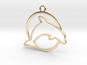 Dolphin & circle intertwined Pendant in 14k Gold Plated Brass