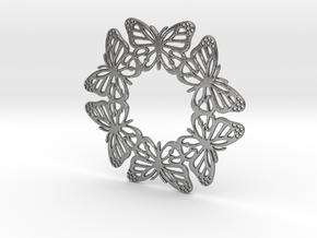Monarch Butterfly Snowflake Ornament in Natural Silver