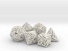 Helix Dice Set in White Natural Versatile Plastic