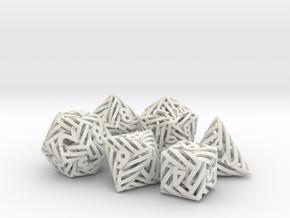 Helix Dice Set in White Natural Versatile Plastic
