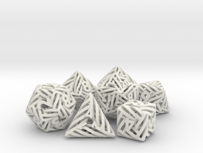 Helix Dice Set with Decader in White Natural Versatile Plastic
