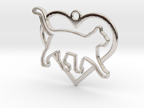 Cat & heart intertwined Pendant in Rhodium Plated Brass