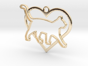 Cat & heart intertwined Pendant in 14K Yellow Gold