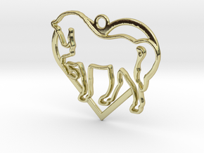 Horse & heart intertwined Pendant in 18k Gold Plated Brass