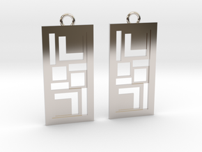 Geometrical earrings no.3 in Rhodium Plated Brass: Small