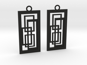 Geometrical earrings no.2 in Black Natural Versatile Plastic: Small