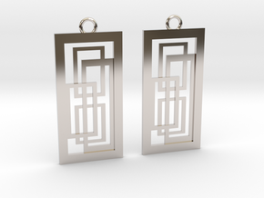 Geometrical earrings no.2 in Platinum: Small