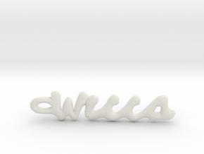 "Vertical ""Wicca"" Word Pendant in White Natural Versatile Plastic"