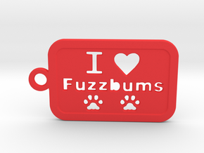 Fuzzbums Keychain - Plastic in Red Processed Versatile Plastic