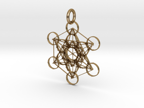 Metatron Sacred Geometry in Polished Gold Steel: Extra Small