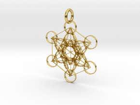 Metatron Sacred Geometry in Polished Brass: Extra Small