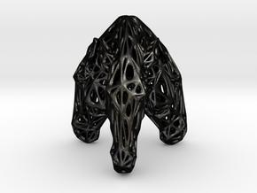 Triple Voronoi Marwari Horse (001) in Matte Black Steel