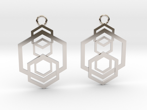 Geometrical earrings no.5 in Rhodium Plated Brass: Small