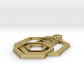 Geometrical pendant no.5 in Natural Brass: Small