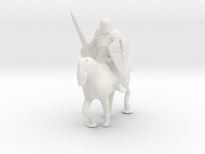 HO Scale Knight on Horse in White Natural Versatile Plastic