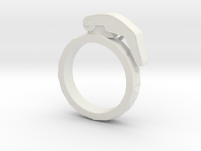 The Gringade - Grenade Ring (Size 7) in White Natural Versatile Plastic: 7 / 54