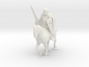 O Scale Knight on a Horse in White Natural Versatile Plastic