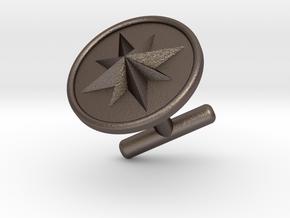 Cufflink - Wind Rose in Polished Bronzed-Silver Steel