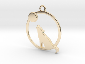 Wolf & moon in 14k Gold Plated Brass