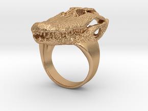 Alligator Skull Ring in Natural Bronze: Small