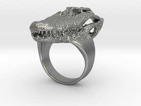Alligator Skull Ring in Natural Silver: Small