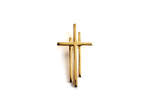 Calvary Cross Pendant - Christian Jewelry in 18k Gold Plated Brass