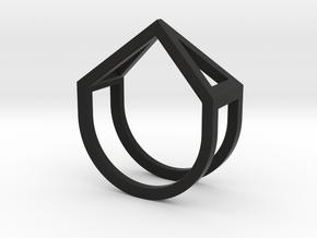Ring - Pirámi in Black Premium Versatile Plastic: 6 / 51.5