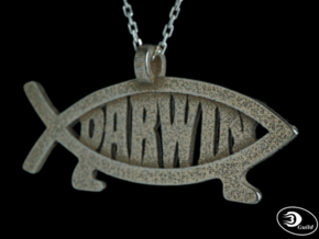 Darwin Fish Pendant - Horizontal in Polished Bronzed-Silver Steel