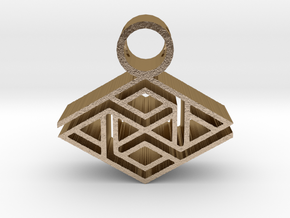 tribal pendant 10 in Polished Gold Steel