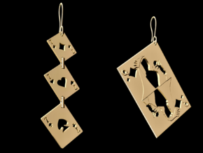 Asymmetrical Stunning Card Earrings  in 14k Gold Plated Brass
