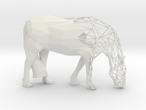 Semiwire Low Poly Grazing Horse in White Natural Versatile Plastic